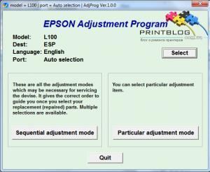 Adjustment program Epson L100