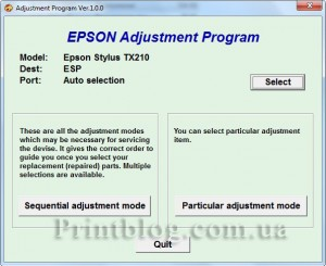 Adjustment program Epson Stylus TX210