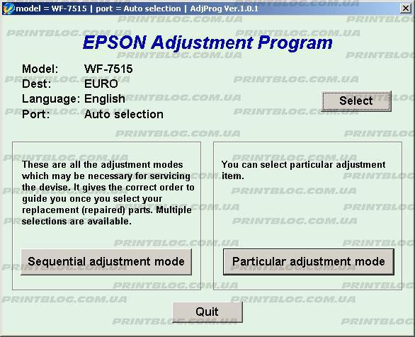 Adjustment program Epson WF 7515, 7015