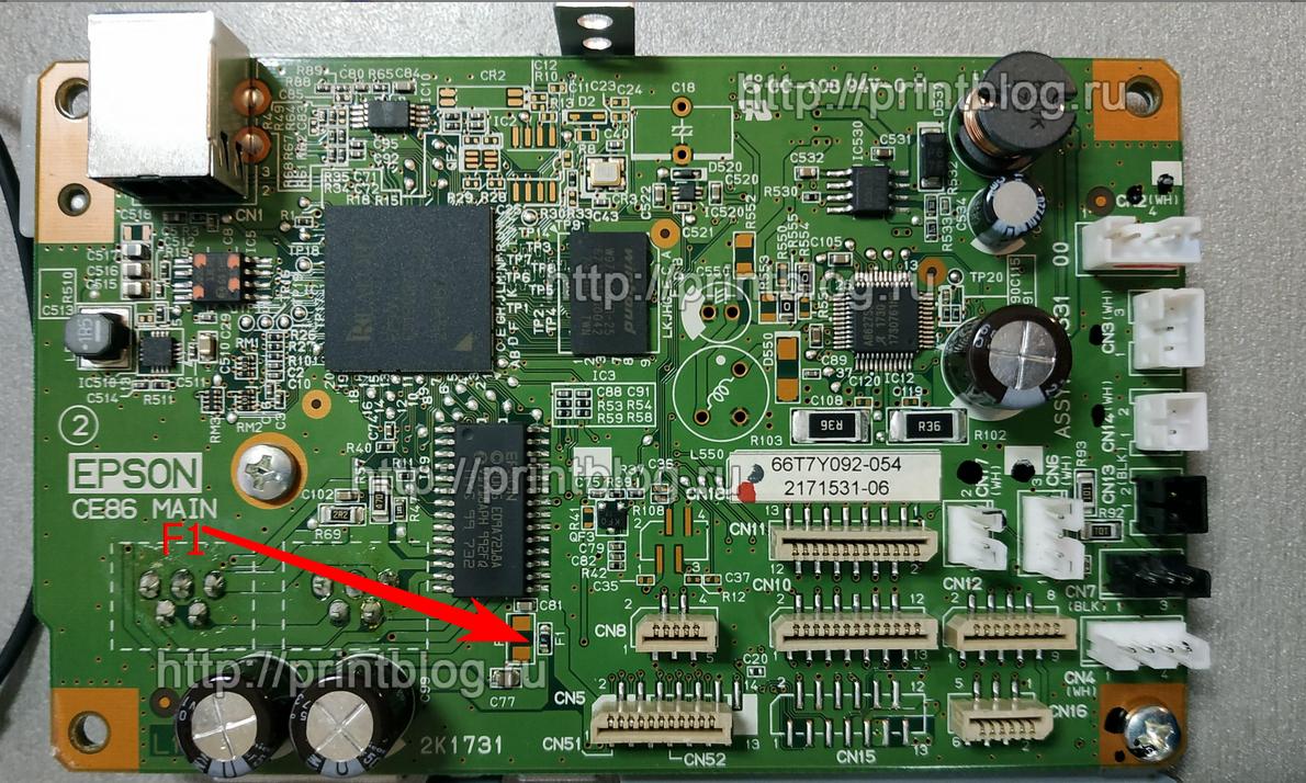 Предохранители F1 на главной плате принтера Epson L805 (CA86 MAIN)