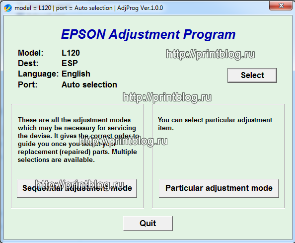 Adjustment program Epson L120