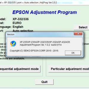 EPSON XP-235, XP-235A, XP-332, XP-335, XP-332A, XP-432, XP-434, XP-435 Adjustment program Ver. 1.0.2 build 6114 (сброс памперса)