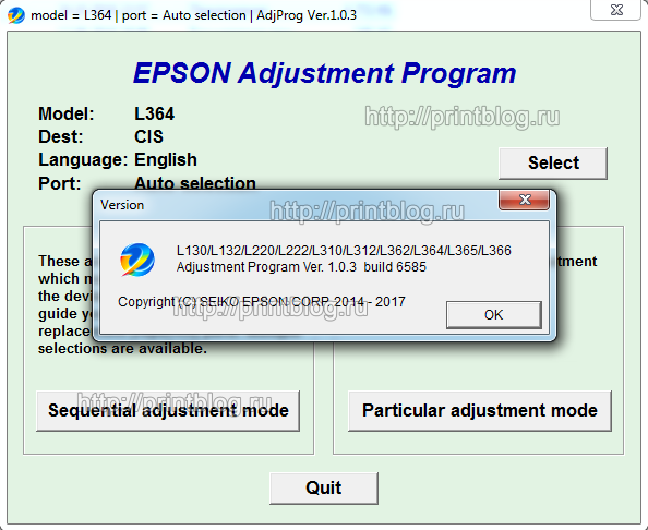 Adjustment program Epson L132, L222, L312, L362, L364, L366, L130, L220, L310, L365, L566 сброс памперса