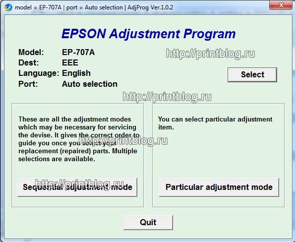 Adjustment program Epson EP-707A