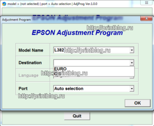 Adjustment program Epson L382, L386, L486