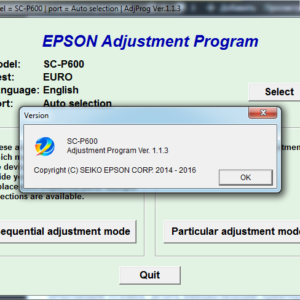 Epson SureColor SC-P600 Adjustment program Ver. 1.1.3 (сброс памперса)