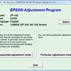 Adjustment program Epson Expression Home XP-342, XP-343, XP-345 (EURO)