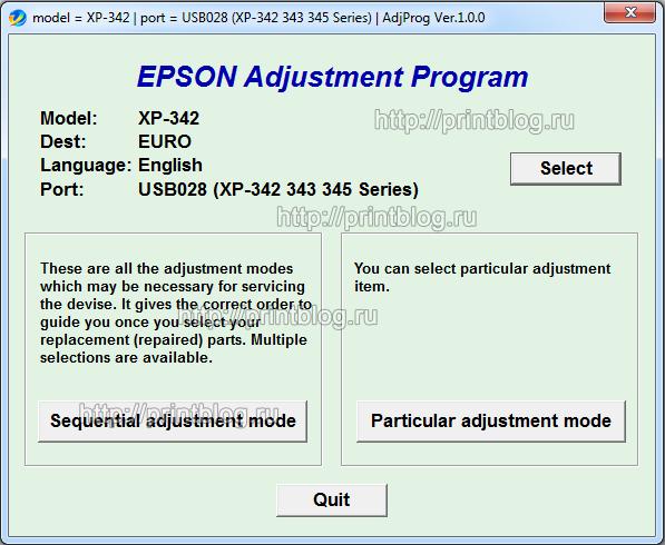 Adjustment program Epson Expression Home XP-342, XP-343, XP-345 (EURO)