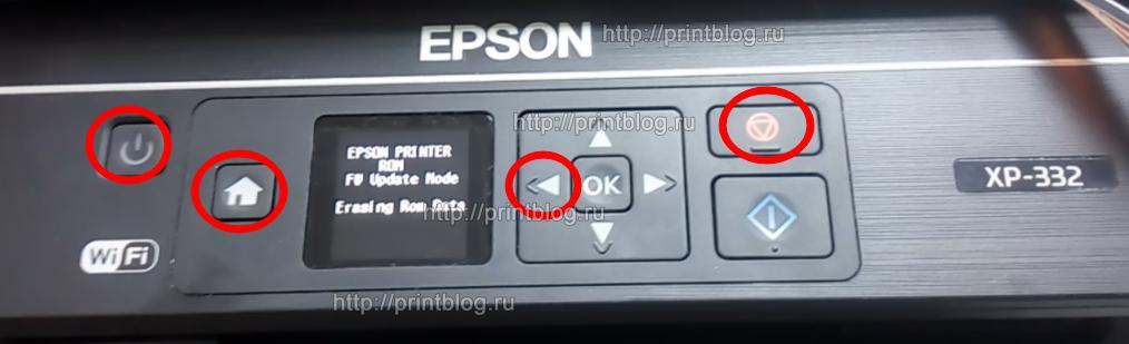 Безлимитное понижение версии прошивки до JE24F8 в Epson XP-332, XP-335
