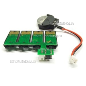 Чип СНПЧ для Epson WorkForce WF-7015, WF-7515, WF-7525 (1291-1294) с батарейкой