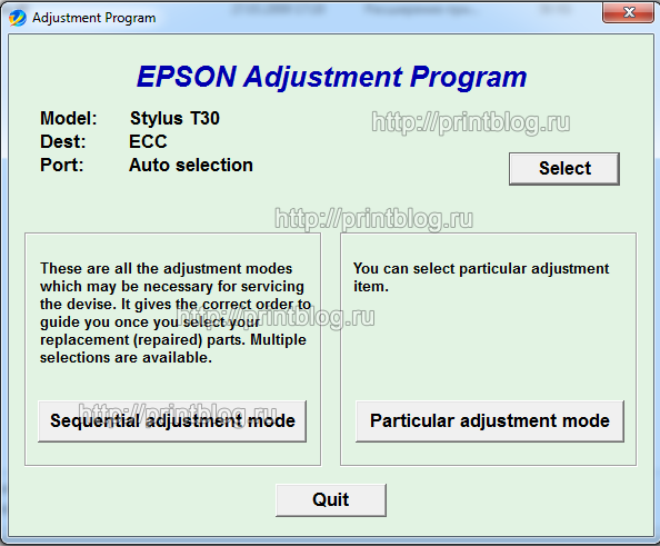 Adjustment program для Epson Stylus T30, Workforce 30