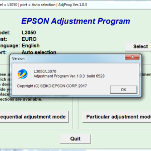 EPSON L3050, L3070 Adjustment program Ver. 1.0.3 build 6528 (сброс памперса