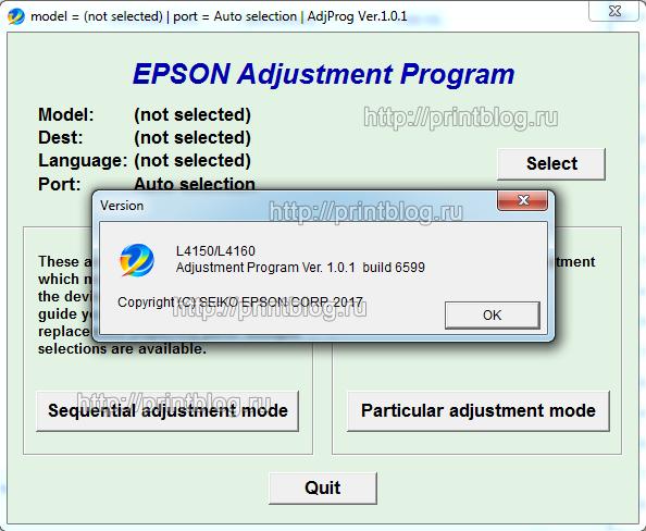 EPSON L4150, L4160 Adjustment program Ver. 1.0.1 (сброс памперса)