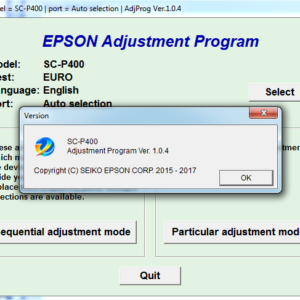 EPSON SC-P400 Adjustment program Ver. 1.0.4 (сброс памперса)