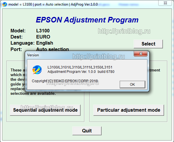 EPSON L3100, L3101, L3110, L3111, L3150, L3151 Adjustment program Ver. 1.0.0 build 6780 (сброс памперса)