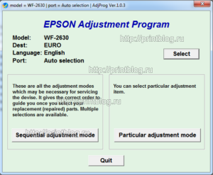 EPSON WF-2630 Adjustment program Ver. 1.0.3 build 6586 (сброс памперса)
