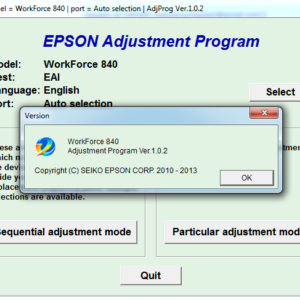 Adjustment program Epson WF 840, 845