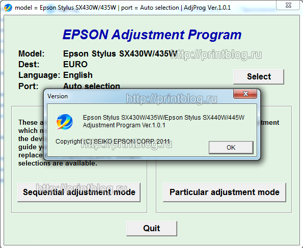 Adjustment program для Epson Stylus SX430W, SX435W, SX440W, SX445W