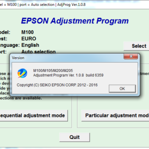 Adjustment program Epson M100, M105, M200, M205 (сброс памперса)