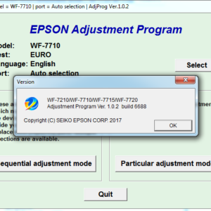 Adjustment program Epson WF-7210, WF-7710, WF-7715, WF-7720 (Сброс только Platen pad counter)