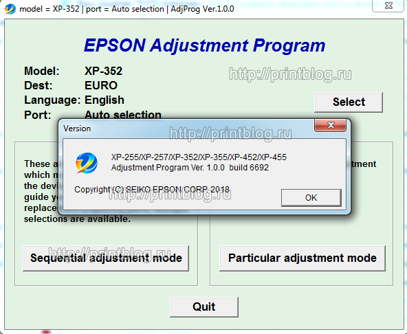 Adjustment program Epson XP-255, XP-257, XP-352, XP-355, XP-452, XP-455 (Сброс памперса)