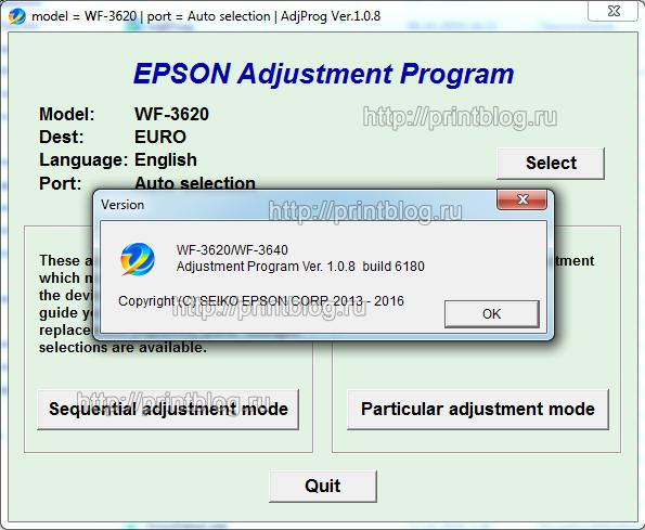 Adjustment program Epson WF-3620, WF-3640 (Сброс только Platen pad counter)