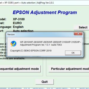 Adjustment program Epson WF-2810, WF-2830, WF-2835, WF-2850, XP-3100, XP-3105, XP-4100, XP-4105 (Не сбрасывает основной счетчик памперса)