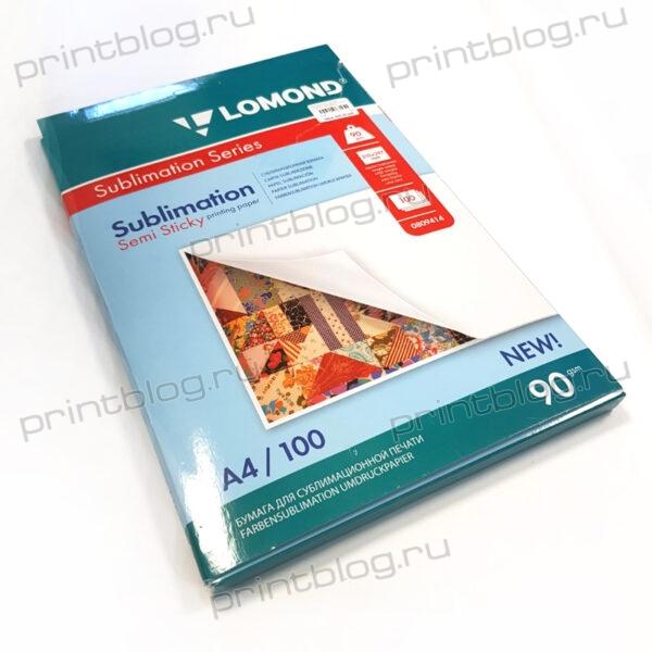 Фотобумага Lomond Semi Sticky Sublimation Transfer, сублимационная, матовая, A4, 90 грм2, 100л. (0809414)