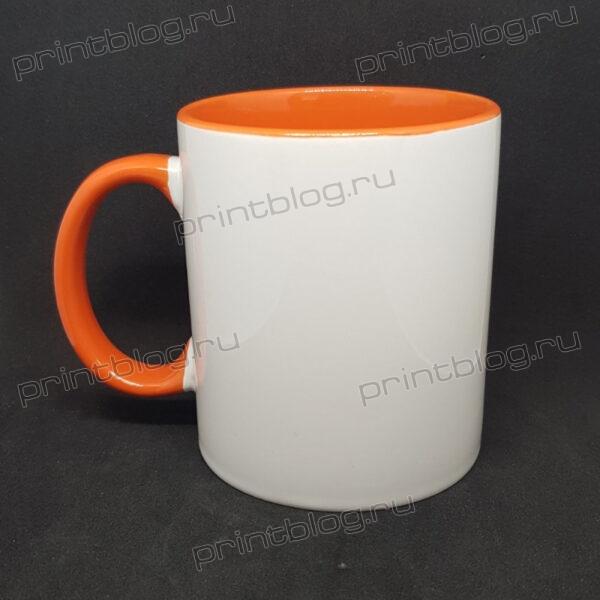 Кружка 300мл., белая с оранжевой внутренней поверхностью