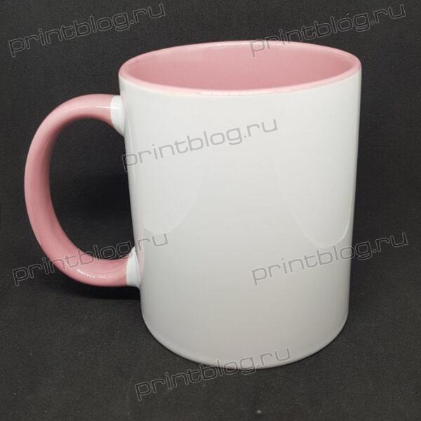 Кружка 300мл., белая с розовой внутренней поверхностью
