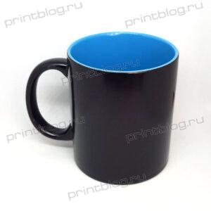 Кружка хамелеон, черная с голубой внутренней поверхностью, глянцевая, 300мл