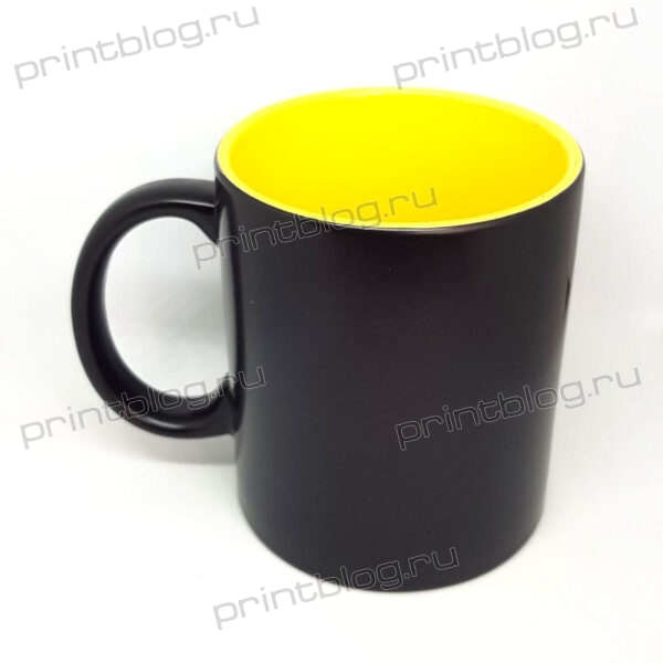 Кружка хамелеон, черная с желтой внутренней поверхностью, матовая, 300мл