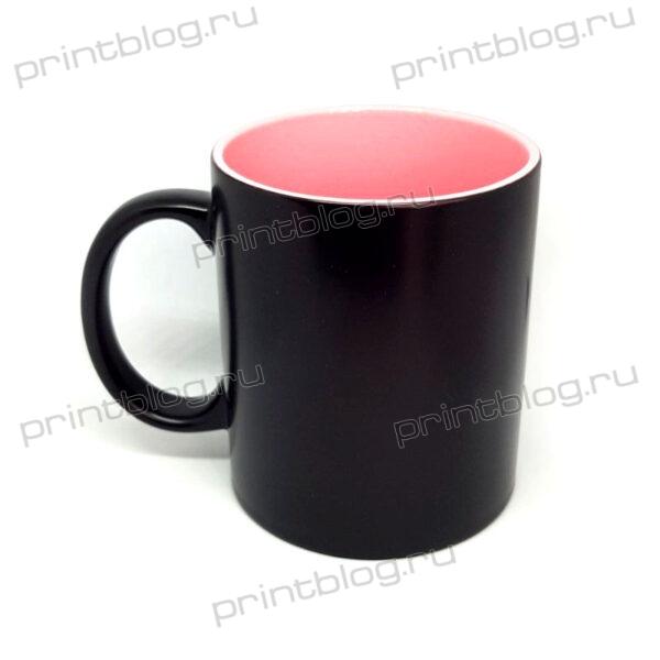 Кружка хамелеон, черная с розовой внутренней поверхностью, матовая, 300мл