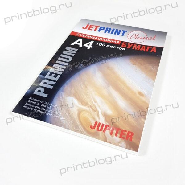 Сублимационная бумага JETPRINT, быстросохнущая, А4, 100 гм 100л. (белая подложка)
