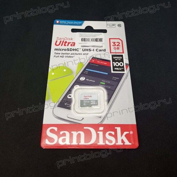 Карта памяти microSDHC 32Gb Sandisk UHS-I class 10 Uitra без адаптера (SDSQUNR-032G-GN3MN)