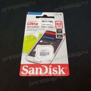 Карта памяти microSDXC 64Gb Sandisk UHS-I class 10 Uitra без адаптера (SDSQUNR-064G-GN3MN)
