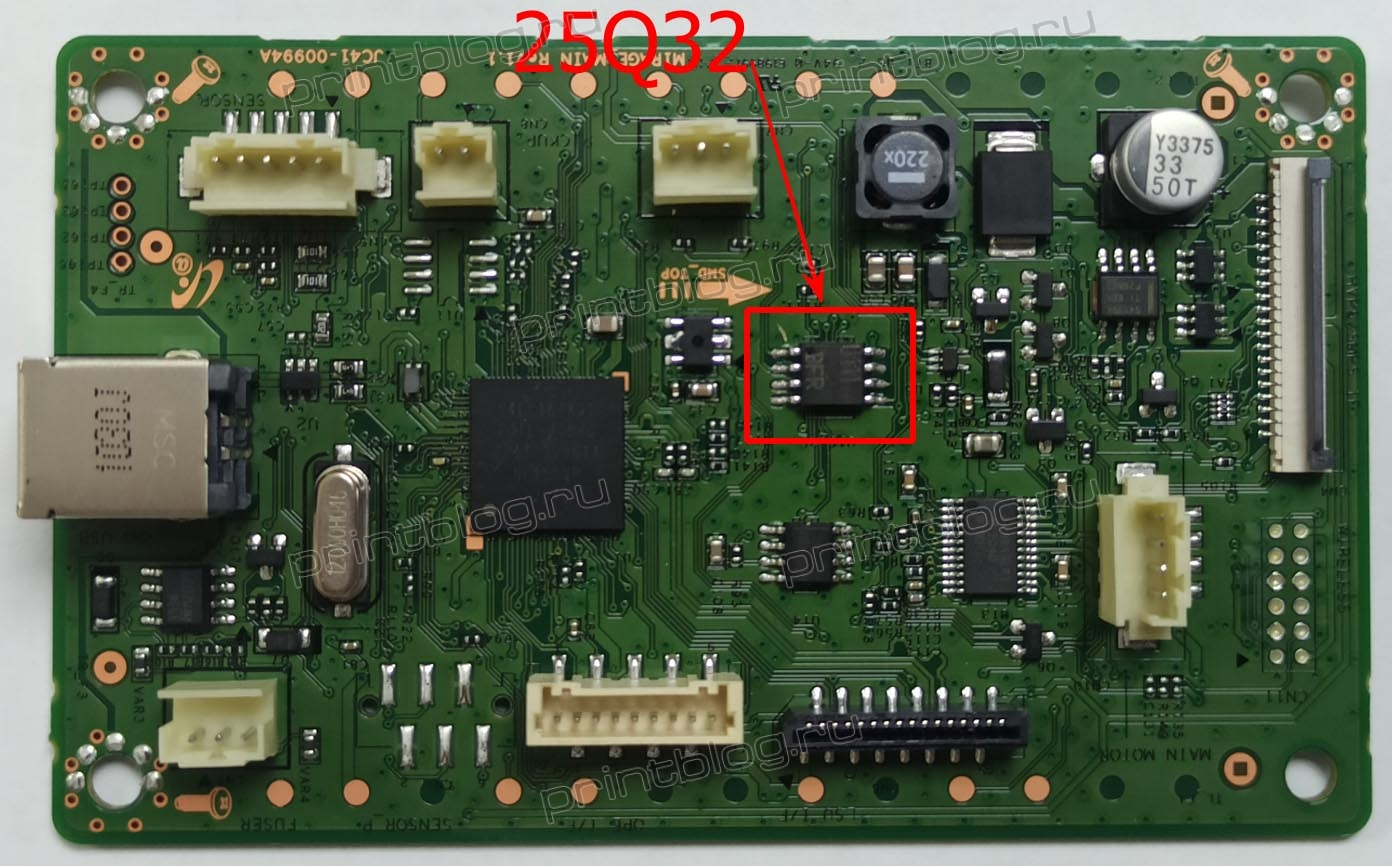 Микросхема 25Q32 для понижения версии прошивки в HP Laser 107a, 107r с V3.82.01.11 до V3.82.01.08