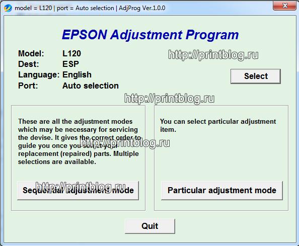 Epson l120 adjustment program resetter